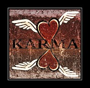 Wings Posters - Karma Give Love Poster by Tisha McGee