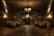 Wine Barrel Photo Metal Prints - Karma Winery Cave Metal Print by Brad Granger