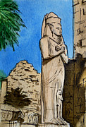 Watercolor Metal Prints - Karnak Temple Egypt Metal Print by Irina Sztukowski