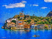 Rossidis Paintings - Kastelorizo island by George Rossidis