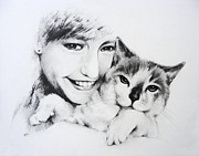 Joy Drawings Prints - Kat Print by Rachel Christine Nowicki