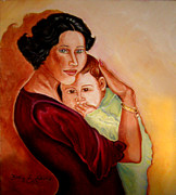 Woman With Black Hair Posters - Katalina and Baby Poster by Kapal-Lou