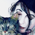 Pop Singer Painting Prints - Kate and her Cat Print by Paul Lovering