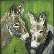D Reliefs Prints - Kate and Tom Donkeys Print by Lorrie T Dunks