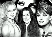 Hudson Drawings Acrylic Prints - Kate Hudson Demi Moore Penelope Cruz and eyes of Drew Barrymore Acrylic Print by Steve Baker Sanfellipo