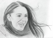 Duchess Of Cambridge Drawings Prints - Kate Middleton - Duchess of Cambridge Print by Pat Moore