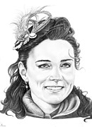 Famous People Drawings - Kate Middleton by Murphy Elliott