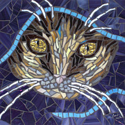 Cats Glass Art Metal Prints - Kath Metal Print by Barbara Benson Keith