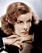 Hand On Chin Photo Framed Prints - Katharine Hepburn, Ca. 1935 Framed Print by Everett