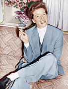 1950s Portraits Photo Metal Prints - Katharine Hepburn In England, Ca. 1952 Metal Print by Everett