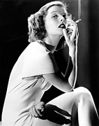 Smoking Book Framed Prints - Katharine Hepburn Smoking, 1930s Framed Print by Everett