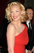 Red Lipstick Framed Prints - Katherine Heigl At Arrivals For Red Framed Print by Everett