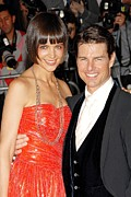 Red Dress Posters - Katie Holmes Wearing A Boucheron Poster by Everett