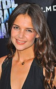 Curled Hair Art - Katie Holmes Wearing A Jennifer Meyer by Everett