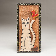 Woodcarved Cat Reliefs - Katricia and the Cardinal by James Neill