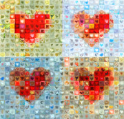 Contemporary Heart Collage Digital Art - Katrinas Heart Wall - Custom Design Created for Extreme Makeover Home Edition on ABC by Boy Sees Hearts