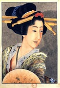 Fan Framed Prints - Katsushika Hokusai   PORTRAIT OF A WOMAN HOLDING A FAN Framed Print by Pg Reproductions