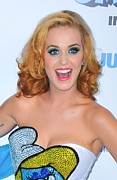 Katy Perry Metal Prints - Katy Perry At Arrivals For The Smurfs Metal Print by Everett