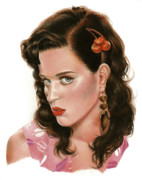Celebrity Art Drawings - Katy Perry by Consuelo Venturi