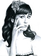 Katy Perry Drawings - Katy Perry by Crystal Rosene