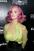 Pink Lipstick Art - Katy Perry Wearing An Elie Saab Blouse by Everett