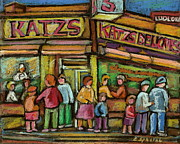Manhatten Painting Posters - Katzs Delicatessan New York Poster by Carole Spandau