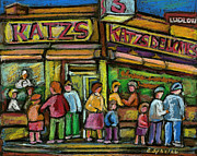 Manhatten Painting Posters - Katzs Houston Street Deli Poster by Carole Spandau