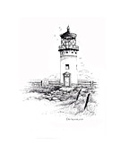 Lighthouse Drawings - Kauai Lighthouse by Dennis Schmelzer