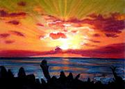 Sunrise Pastels Posters - Kauai Sunrise Poster by Marionette Taboniar