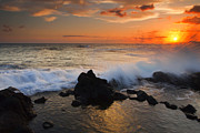 Tidepool Framed Prints - Kauai Sunset Explosion Framed Print by Mike  Dawson