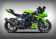 Green Monster Prints - Kawasaki ZX10-R Print by Carl Shellis