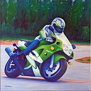 Bicycles Paintings - Kawasaki ZX7 - In The Groove  by Brian  Commerford