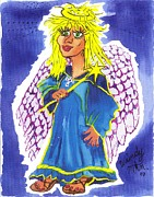 Wings Drawings - Kay Ottick Angel from my Novel Series by Windy Mountain