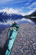 Turquoise Mountain Lake Prints - Kayak Ashore Print by Bill Brennan - Printscapes
