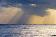 Crepuscular Rays Posters - Kayak At Dawn Poster by Mike  Dawson