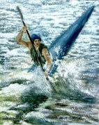 White Water Rafting Paintings - Kayaker by Anita Carden
