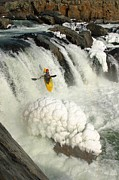 Athletes Posters - Kayaker Over Frozen Falls In Winter Poster by Skip Brown