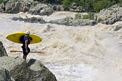 White Water Kayaking Posters - Kayaker Scouts Big Whitewater Rapids Poster by Skip Brown