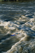 River Scenes Posters - Kayaker Surfing Big Standing Wave Poster by Skip Brown