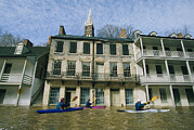 American Colonial Architecture Posters - Kayakers Paddling Through Flooded Poster by Skip Brown