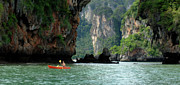 Phuket Prints - Kayaking In Thailand Print by Bob Christopher
