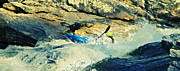 Susan Leggett Prints - Kayaking the River Rapids Print by Susan Leggett