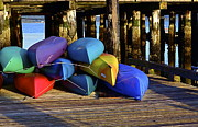 Anna Tesch Posters - Kayaks at Sunrise Poster by Anna Tesch