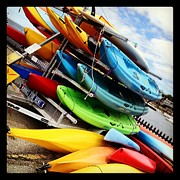 Matthew Green Acrylic Prints - Kayaks for Rent in Rockport Acrylic Print by Matthew Green