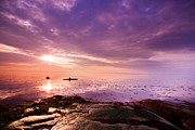Kayaks Prints - Kayaks in purple sunshine  Print by Mircea Costina Photography
