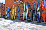 Friendliness Posters - Kayaks on a wall  Poster by Charles Muhle
