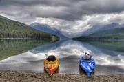Glacier National Park Posters - Kayaks on Bowman Lake Poster by Donna Caplinger