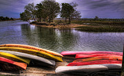 Kayaks Prints - Kayaks on Murriels Inlet Print by Joe Granita