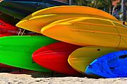 Kayaks Prints - Kayaks on the beach Print by James Bo Insogna
