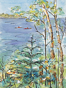 Blue And Gold Paintings - Kayaks On The Lake by Pat Katz